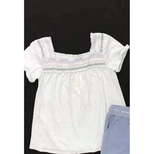 Ragdolls & Rockets Girls Apparel 8 Ragdolls & Rockets Girls White Smocked Top