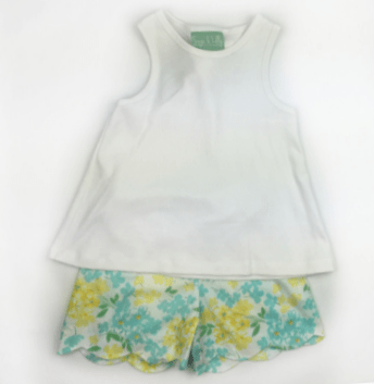 Sage & Lily Girls Apparel 7 Sage and Lily Girls Buttercup Knot Tank with Scallop Shorts