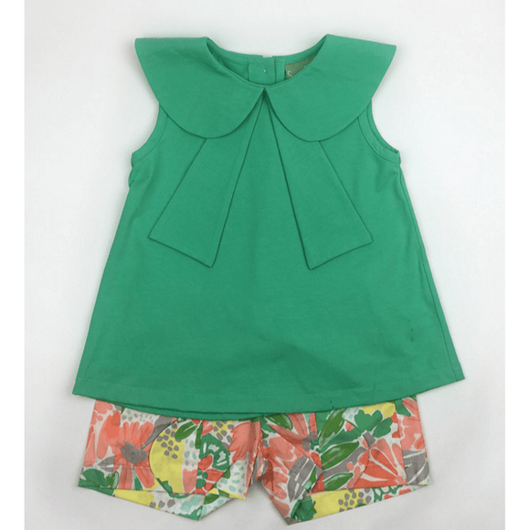 Sage & Lily Girls Apparel 5 Sage and Lily Girls Papaya Sailor Shirt with Scallop Shorts