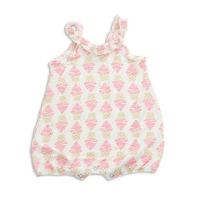 Silkberry Baby Gifts & Apparel 12-18 months / Pink Silkberry Baby Bambo Ruffle Romper Ice Cream