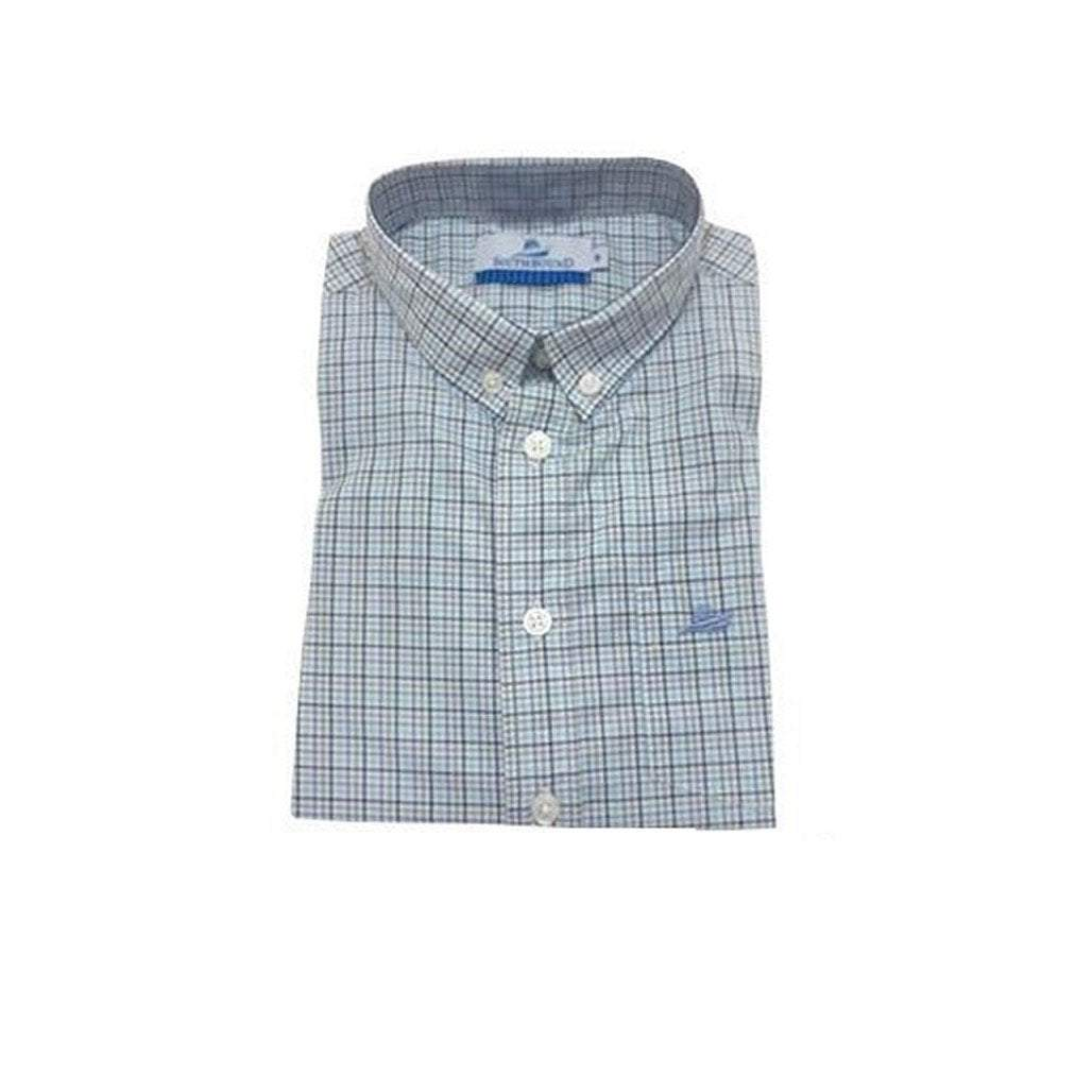 Southbound Boys Apparel 12 / Jade Southbound Boy's Dress Shirt Blue Jade Khaki Plaid