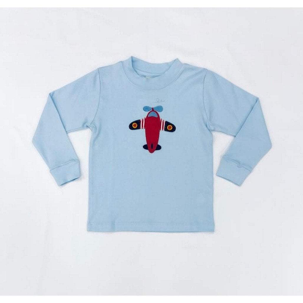 Squiggles by Charlie Boys Apparel Squiggles by Charlie Boys Airplane Applique Blue Shirt
