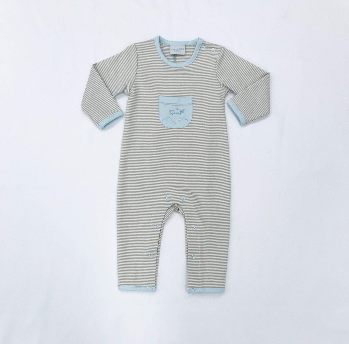 Squiggles by Charlie Boys Apparel Squiggles by Charlie Boys Airplane Embroidery Front Pocket Stripe Longall