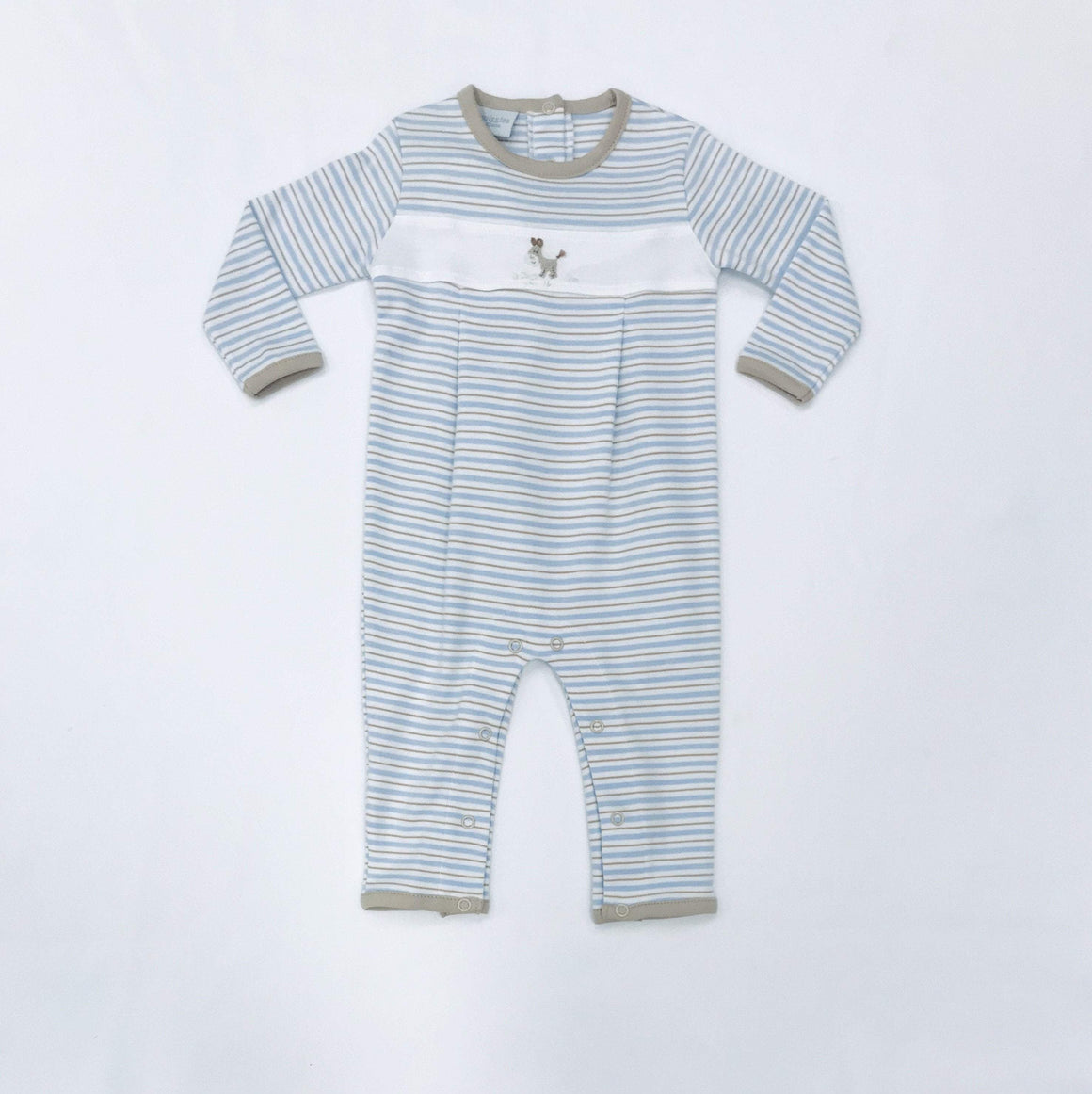 Squiggles by Charlie Boys Apparel Squiggles by Charlie Boys Dog with Bone Embroidery White Panel Stripe Longall