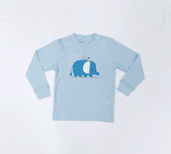 Squiggles by Charlie Boys Apparel Squiggles by Charlie Boys Elephant Applique Blue Stripe Shirt