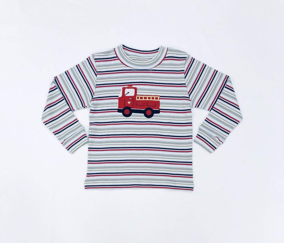 Squiggles by Charlie Boys Apparel Squiggles by Charlie Boys Firetruck Applique Stripe Shirt