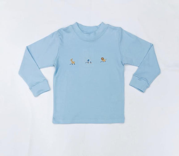 Squiggles by Charlie Boys Apparel 2T / Blue Squiggles by Charlie Boys Pull Toys Embroidery Blue Shirt