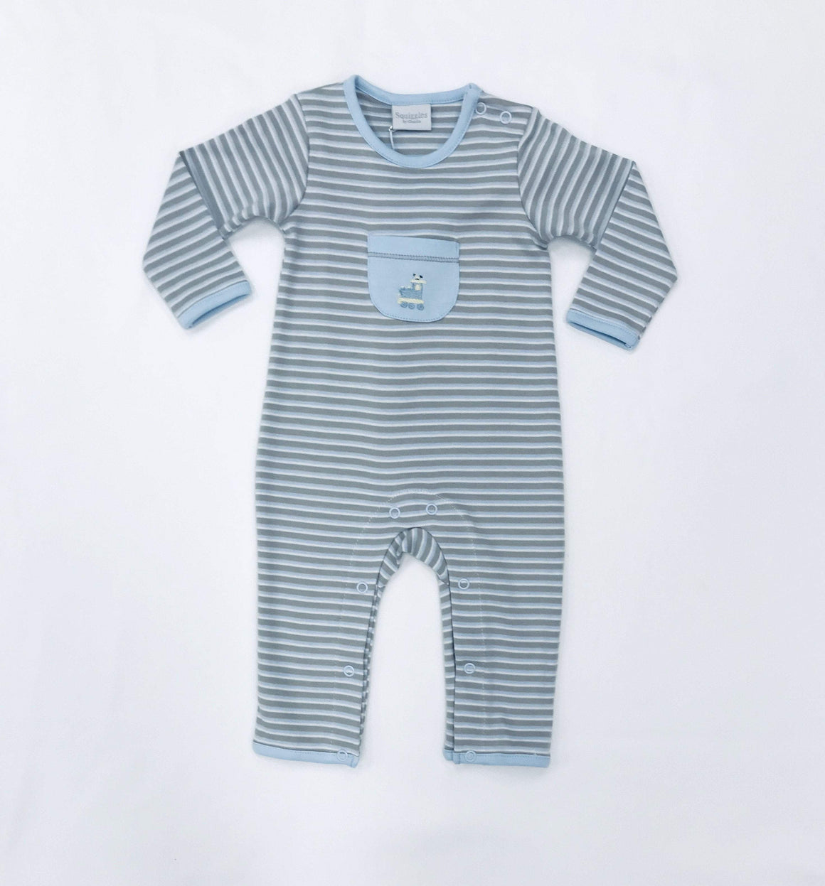 Squiggles by Charlie Boys Apparel Squiggles by Charlie Boys Train Embroidery Front Pocket Stripe Longall
