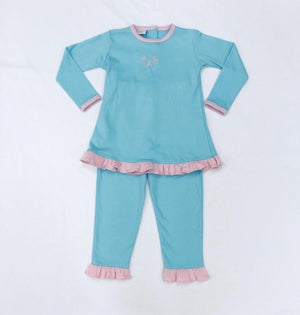 Squiggles by Charlie Girls Apparel 12M / Aqua Squiggles by Charlie Girl's Aqua with Butterflies Embroidered Pink Ruffled Pant Set