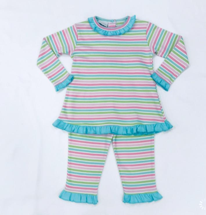 Squiggles by Charlie Girls Apparel 2T / Multi Squiggles by Charlie Girl's Aruba Stripe Ruffled Neck Pant Set