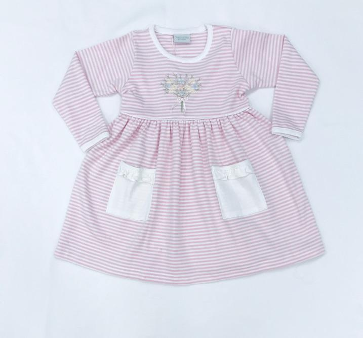 Squiggles by Charlie Girls Apparel Squiggles by Charlie Girl's Flower Bouquet Embroidered Pink and White Stripe Pocket Popover Dress