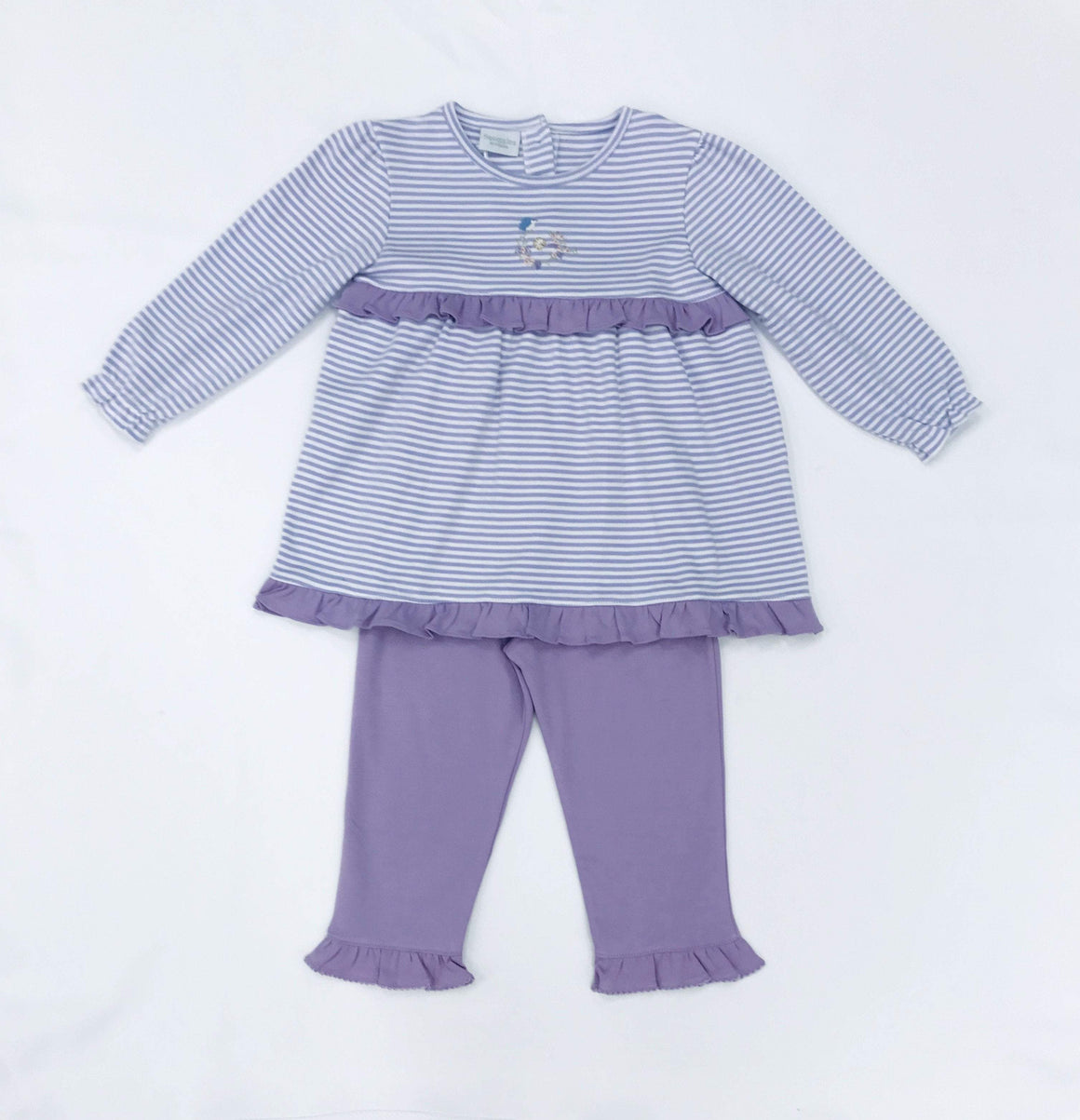 Squiggles by Charlie Girls Apparel 2T / Lavender Squiggles by Charlie Girl's Lavender Stripe with Bird's Nest Embroidered Ruffled Pant Set