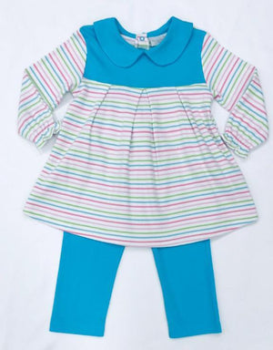 Squiggles by Charlie Girls Apparel Squiggles by Charlie Girl's Multi Pastel Stripe Long Sleeve Dress with Straight Leggings