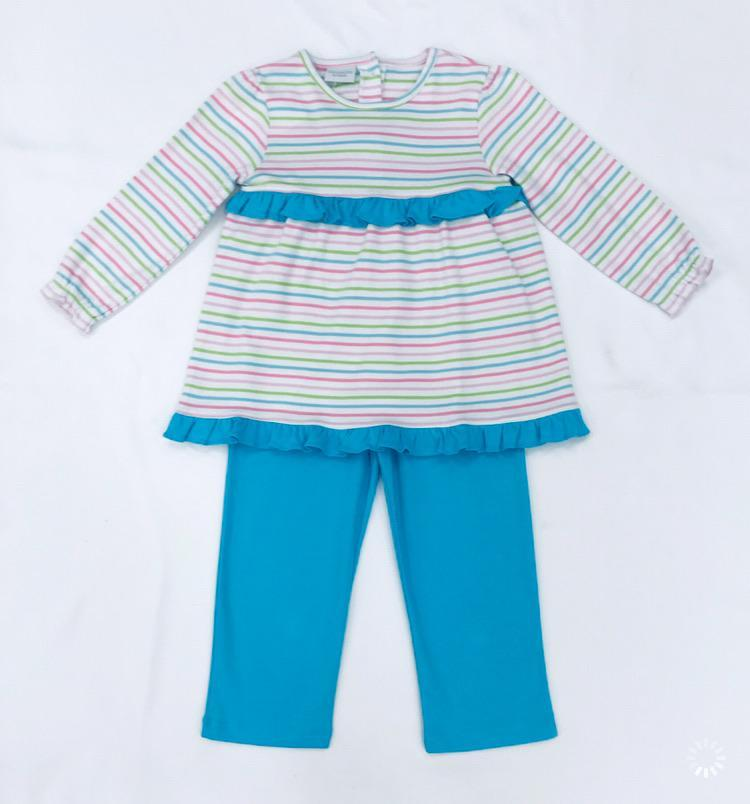 Squiggles by Charlie Girls Apparel 2T / Multi Squiggles by Charlie Girl's Pastel Stripe Ruffled Pant Set