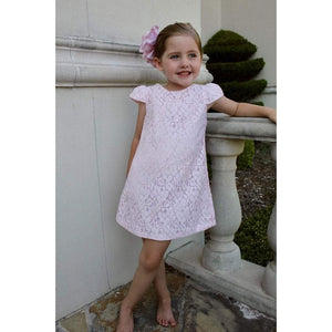 Susanne Lively Designs Girls Apparel 7 Susanne Lively Designs Girls Pink Lace Aline Dress with Flutter Sleeves