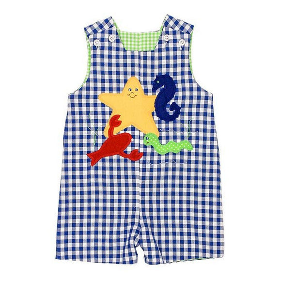 The Bailey Boys Boys Apparel 12M / Blue The Bailey Boys Sea Animals and Tractor Reversible Jon Jon