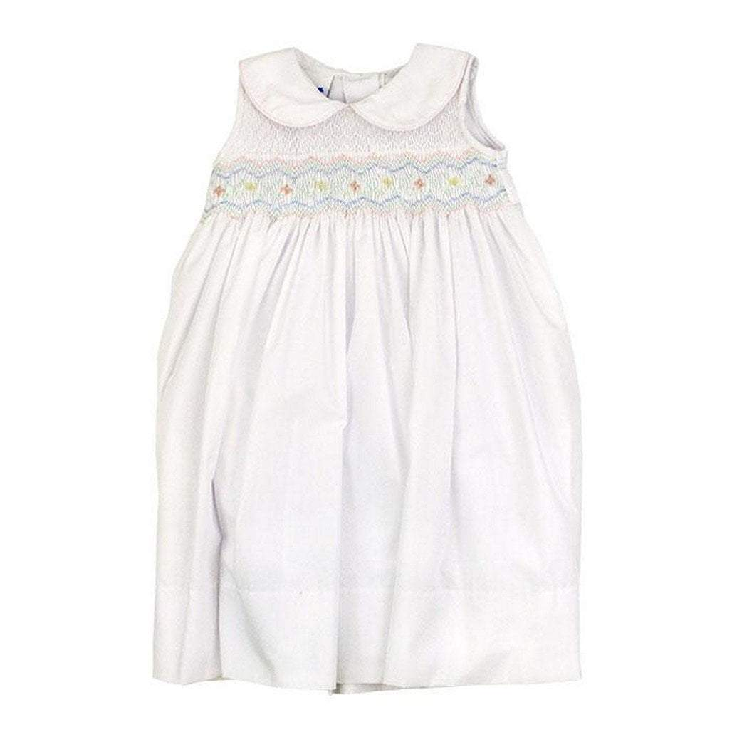 The Bailey Boys Girls Apparel 2T / Multi The Bailey Boys Smocked Pastel Flowers-Classic White Tieback Dress