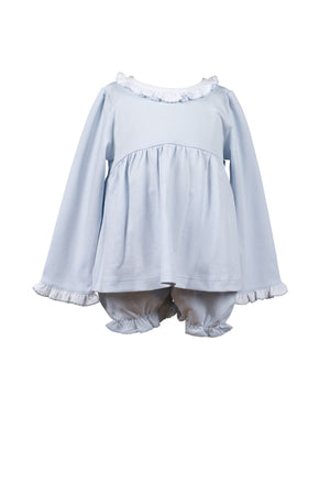 The Proper Peony Apparel 3 Mo / Soft Blue The Proper Peony Parkside Collection Pima Basics Soft Blue Ruffle Two Piece Bloomer Set