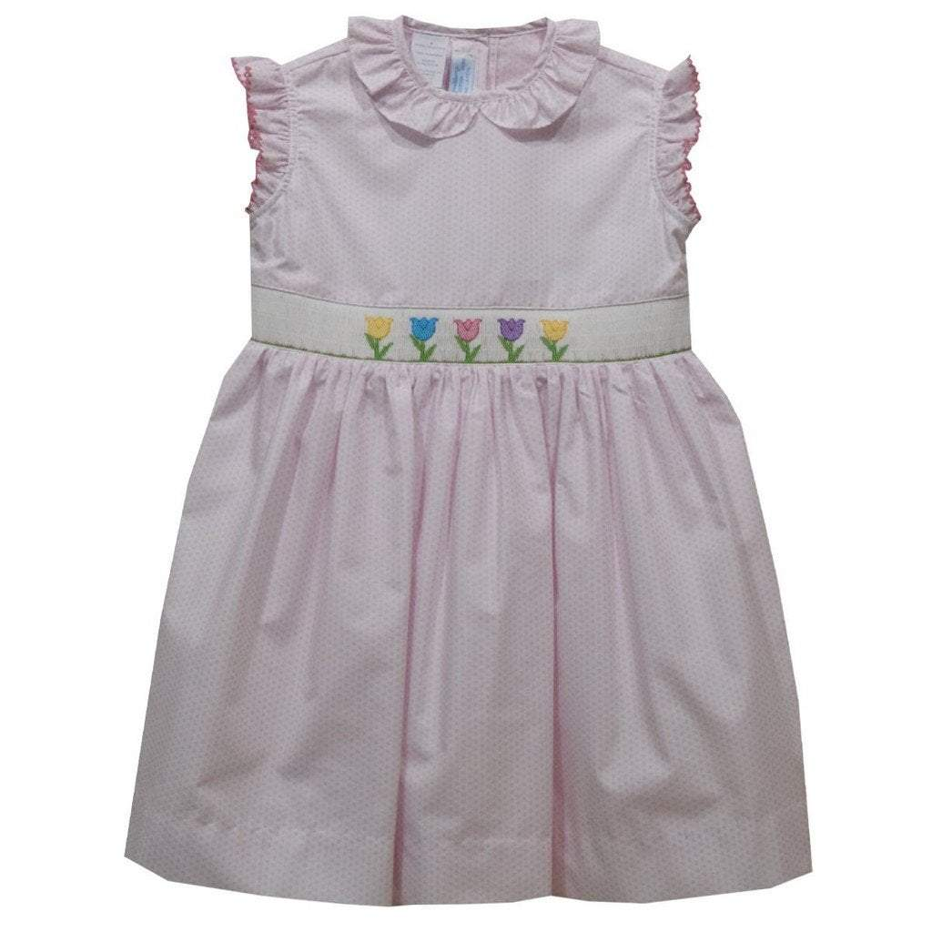 Vive La Fete Apparel Vive La Fete Tulips Pink Polka Dot Smocked Dress