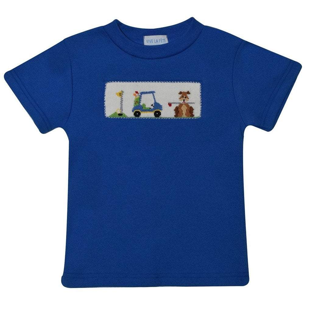 Vive La Fete Toddler Boy Apparel 2T / Blue Vive Le Fete Golf Car Smocked Royal Knit Boys Tee Shirt Short Sleeve