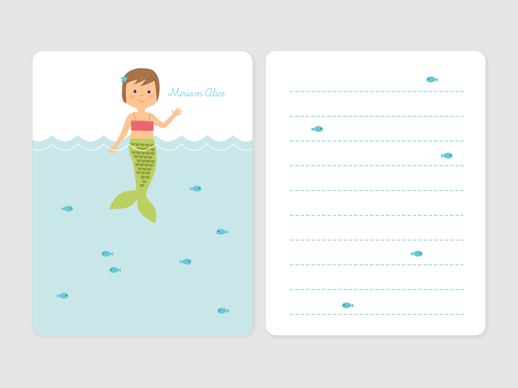mermaid note cards