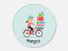 NEW!  holiday plate :: bicycle girl