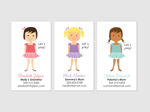 play date cards - girl
