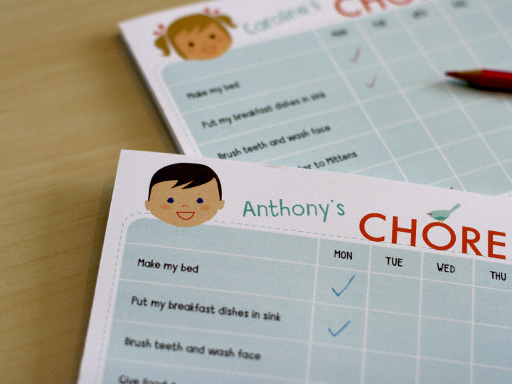 chore chart notepad boy