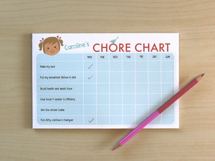chore chart notepad girl