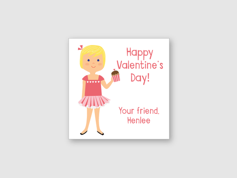 valentine stickers - girl