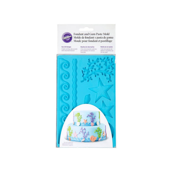 WILTON Silicone Fondant and Gum Paste Mold with Sea Life Designs