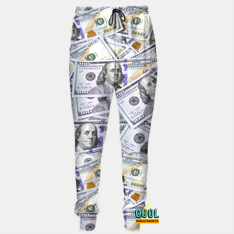 Cool Sweatshirts: $100 Bills Benjamins Money Joggers Sweatpants