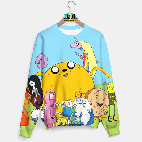 Cool Sweatshirts: Adventure Time Blue Sweater - Jake, Beemo, Finn, Princess Bubble Gum, LSP, Lemonhead, Flame Princess, Ice King,