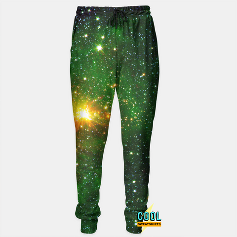 Cool Sweatshirts for men & women: Green Galaxy Sweatpants Joggers, cosmos, nebula, nasa, space, SexySweaters, Sexy Sweaters, EDM, Rave, Ugly Christmas Sweaters, Mr Gugu & Miss Go, HypeBeast