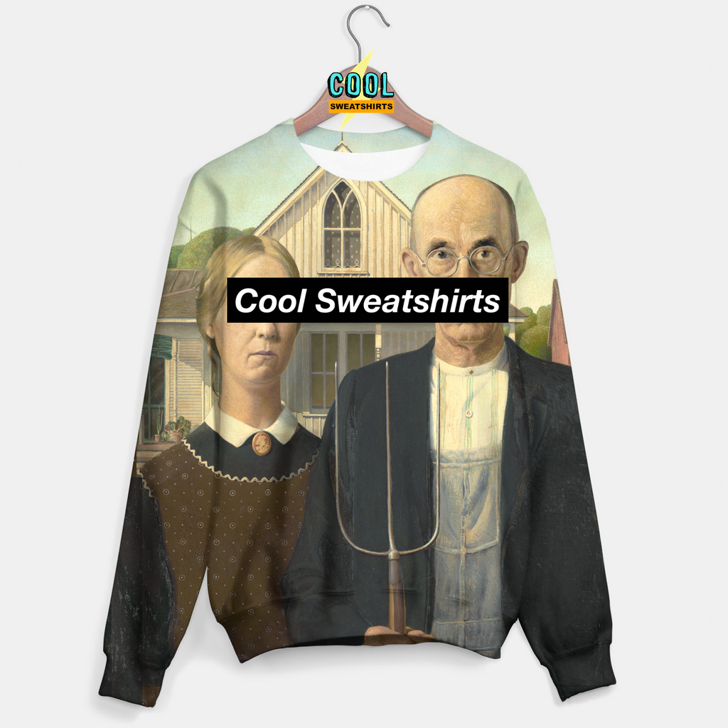 Cool Sweatshirts: American Gothic Sweater Art Painting