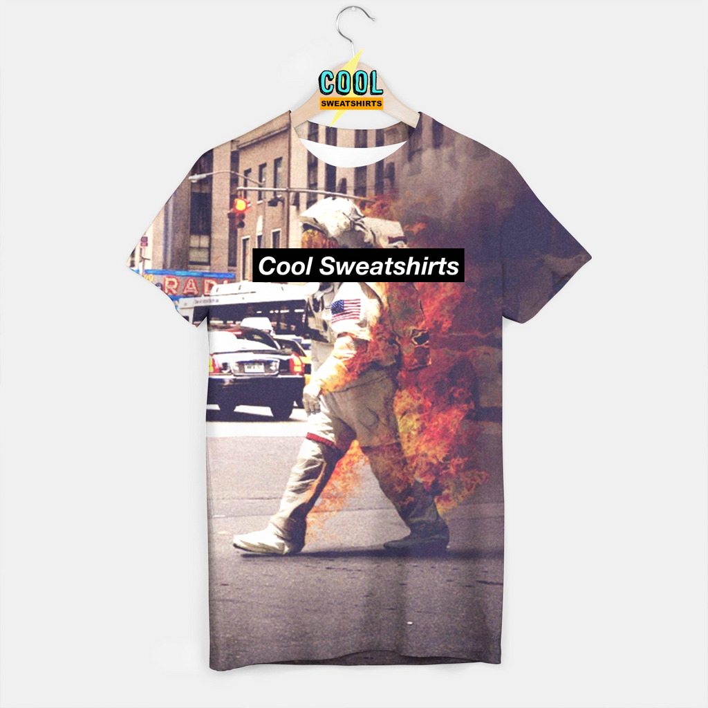 Cool Sweatshirts: Astronaut On Fire Shirt