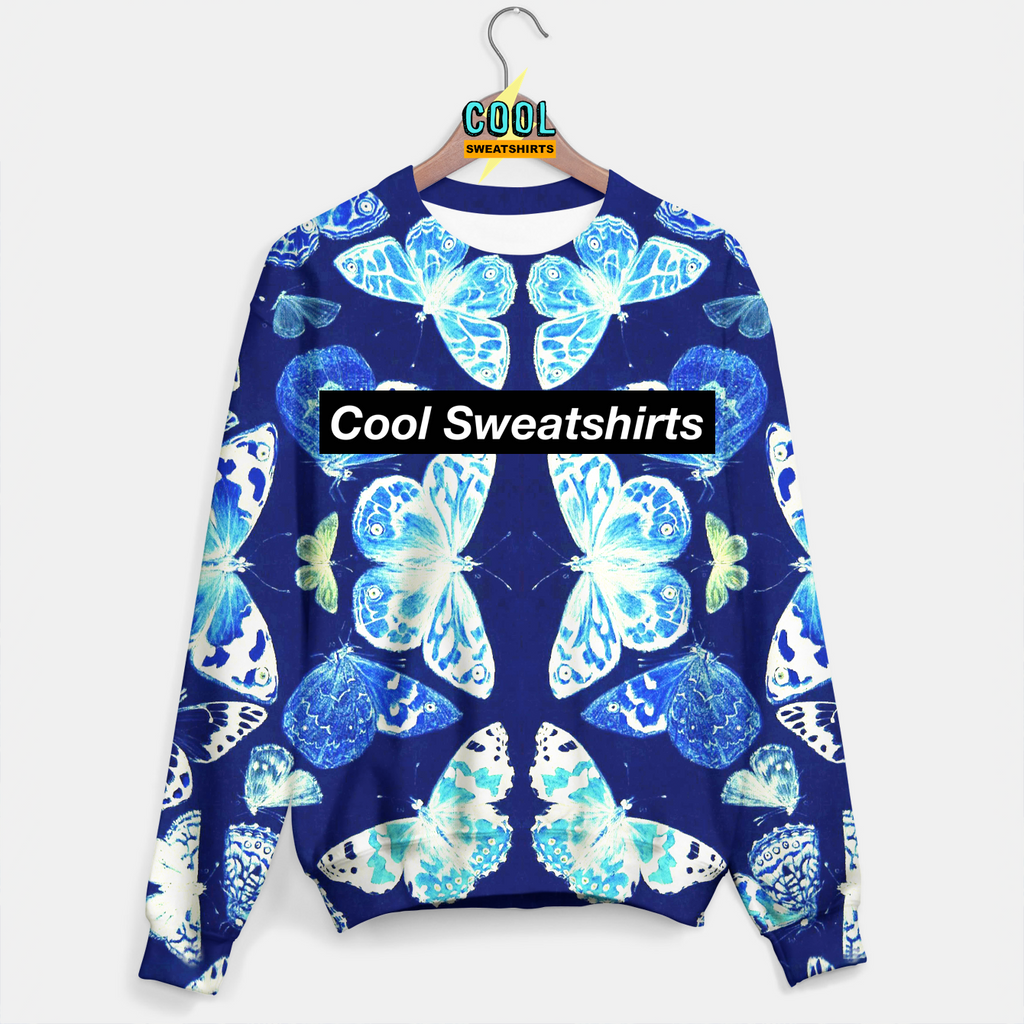 Cool Sweatshirts: Blue Butterfly Insect Sweater