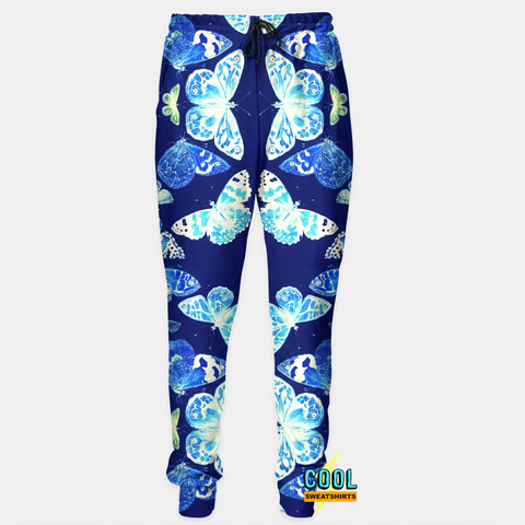 Cool Sweatshirts: Blue Butterfly Insect Joggers Sweatpants