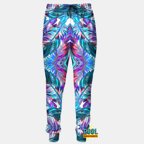 Cool Sweatshirts: Blue Feathers Abstract Art Joggers Sweatpants Flowers Plants