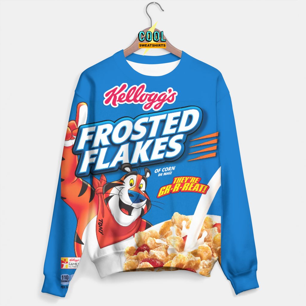 Cool Sweatshirts for men & women: Frosted Flakes Cereal Sweater, SexySweaters, Sexy Sweaters, EDM, Rave, Ugly Christmas Sweaters, Meme, Mr. Gugu & Miss Go, HypeBeast