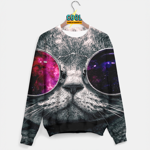 Cool Sweatshirts for men & women: Galaxy Sunglasses Cat Sweater, Hipster Cat, SexySweaters, Sexy Sweaters, EDM, Rave, Ugly Christmas Sweaters, Meme, Mr. Gugu & Miss Go, HypeBeast