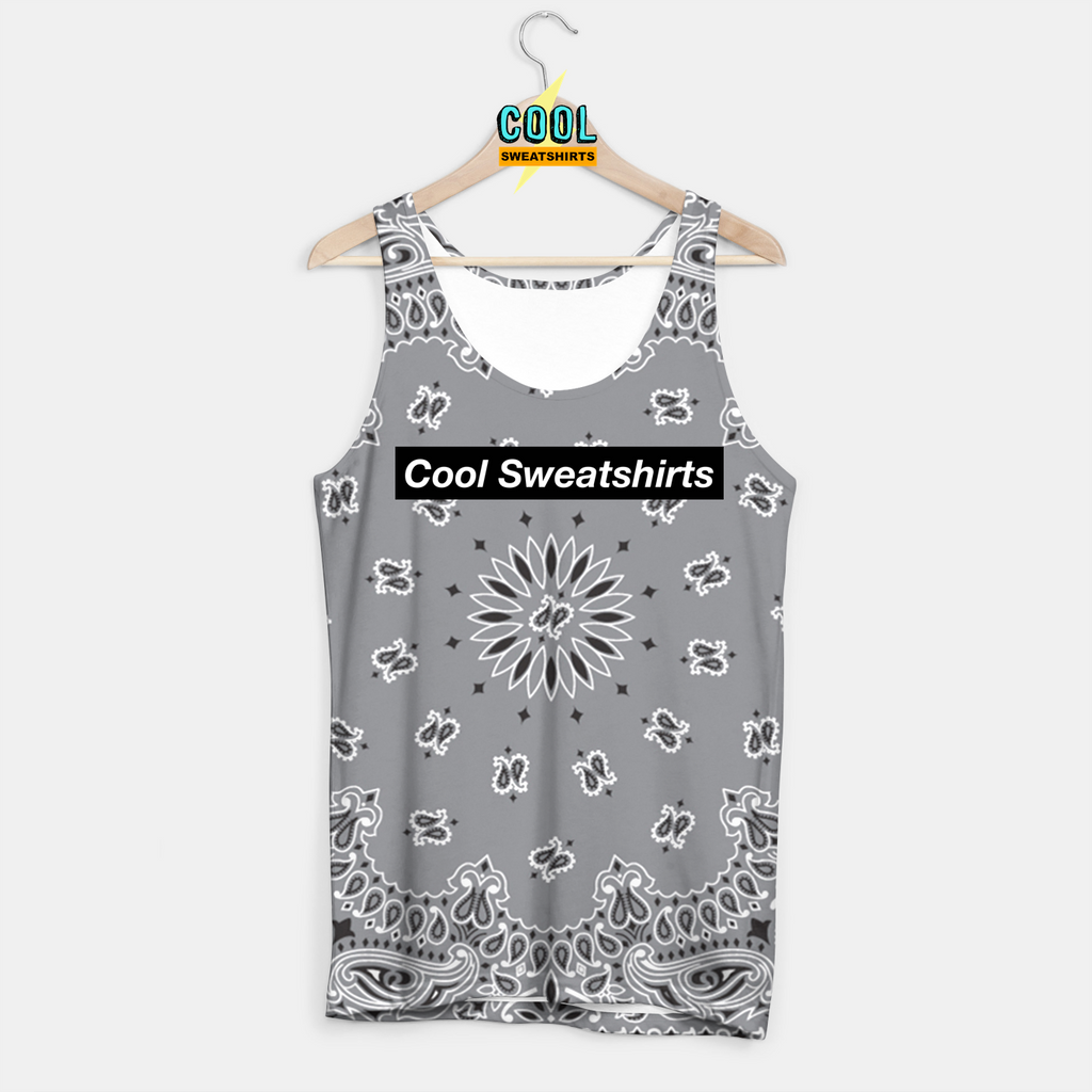 Cool Sweatshirts for men & women: Gray Bandana Tank Paisley, SexySweaters, Sexy Sweaters, EDM, Rave, Ugly Christmas Sweaters, Mr Gugu & Miss Go, HypeBeast