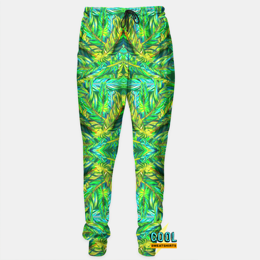 Cool Sweatshirts for men & women: Green Feathers Sweatpants Joggers, Colors, Colorful, SexySweaters, Sexy Sweaters, EDM, Rave, Ugly Christmas Sweaters, Mr Gugu & Miss Go, HypeBeast