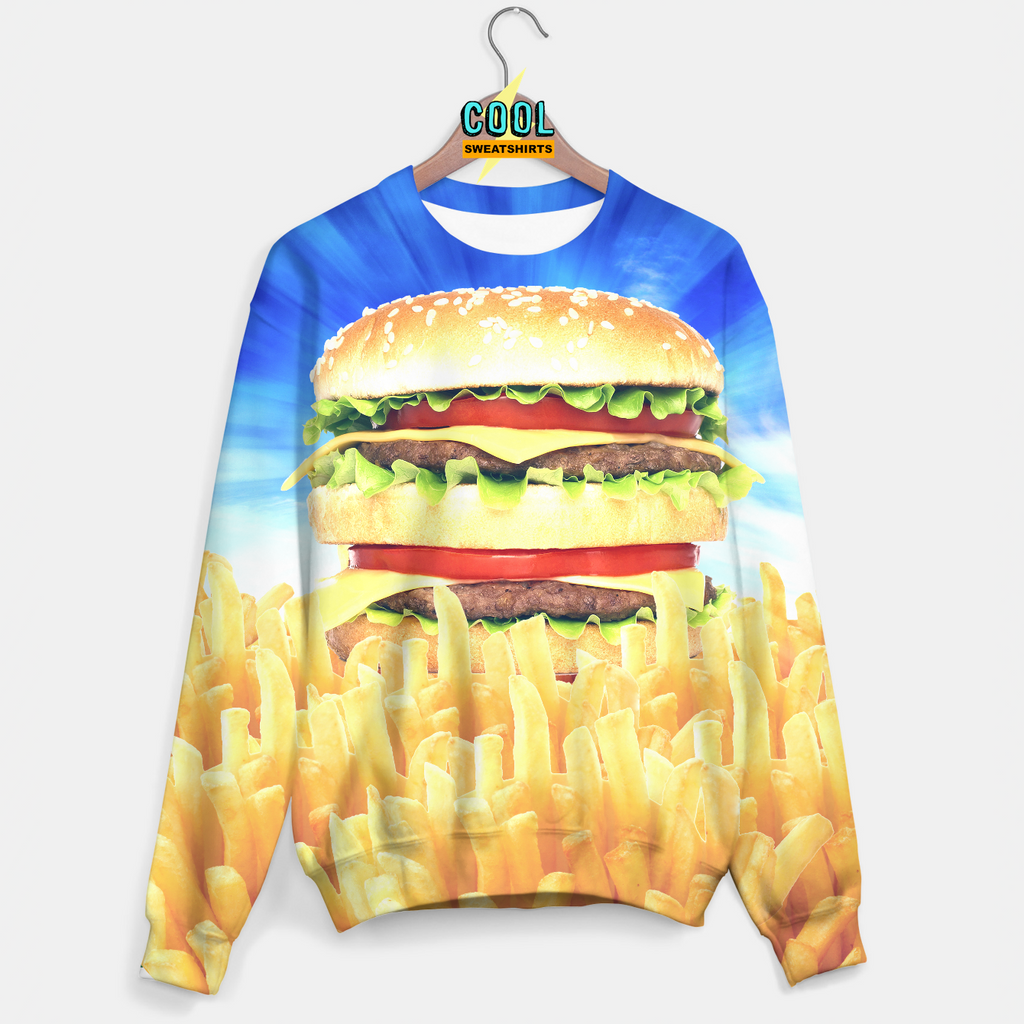 Cool Sweatshirts for men & women: Hamburger & Fries Sweater, Cheeseburger, McDonalds, Burger, EDM, Rave, Ugly Christmas Sweaters, Mr Gugu & Miss Go HypeBeast