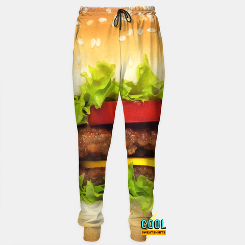 Cool Sweatshirts for men & women: Hamburger Joggers Sweatpants, Cheeseburger, McDonalds, Burger, EDM, Rave, Ugly Christmas Sweaters, Mr Gugu & Miss Go HypeBeast