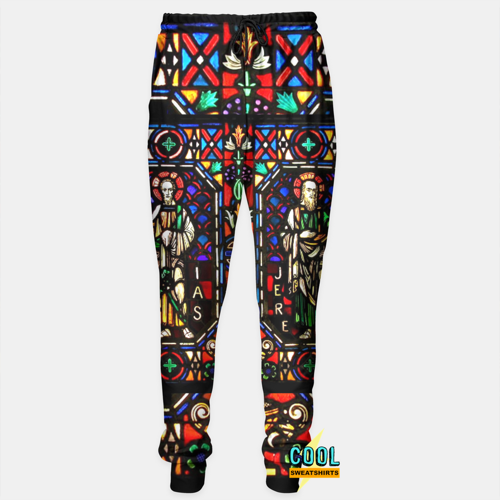 Cool Sweatshirts for men & women: Isaias & Jerimias Stained Glass Joggers Sweatpants, SexySweaters, Sexy Sweaters, EDM, Rave, Ugly Christmas Sweaters, Mr. Gugu & Miss Go, HypeBeast