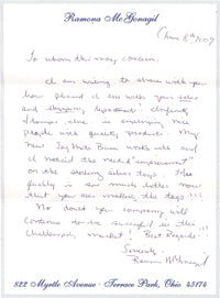 Handwritten Letter of Thanks from Ramona McGonagil