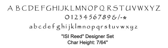 ISI Reed Font Chart