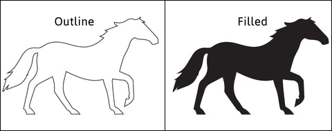 Filled and Outlined Horse Graphic
