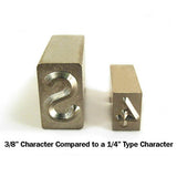 "Size comparison of 3/8"" Steel Type Complete Font Set"